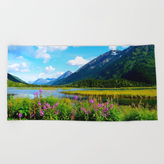 God's Country - Summer in Alaska Beach Towel
