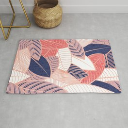 Leaf wall // navy blue coral and blush pink leaves rose metal lines Rug