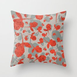 Red and Gray Floral Pattern Throw Pillow
