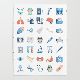 CUTE MEDICINE / SCIENCE / DOCTOR PATTERN Poster