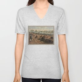 Civil War Battle of Gettysburg by Thure de Thulstrup (1887) Unisex V-Neck