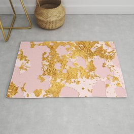 24-Karat Gold Sparking Marble Veins on Pink Blush Rug