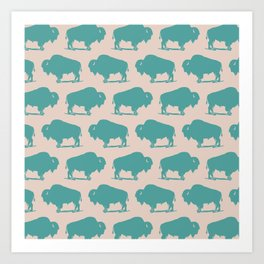 Buffalo Bison Pattern Turquoise and Beige Art Print