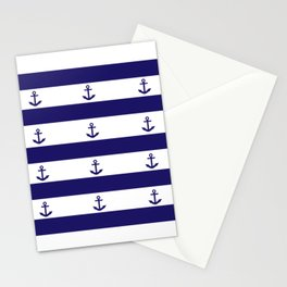 Navy Blue Stripes and Anchors Stationery Cards