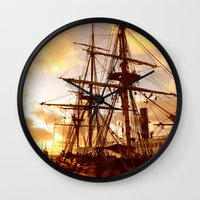 pirate ship Wall Clocks featuring PIRATE SHIP :) by Teresa Chipperfield Studios
