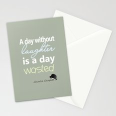 A day without laughter is a day wasted - Charlie Chaplin Quote Stationery Cards