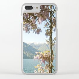 Lavender Wisteria Flowers and Mountains Clear iPhone Case