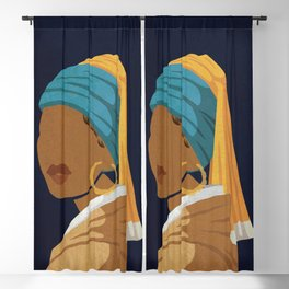 Girl With a Bamboo Earring Blackout Curtain