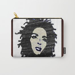 Lauryn Hill vintage fabric & wood grain patterned collage Carry-All Pouch