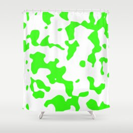 Large Spots - White and Neon Green Shower Curtain