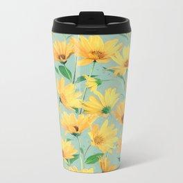 Painted Golden Yellow Daisies on soft sage green Metal Travel Mug