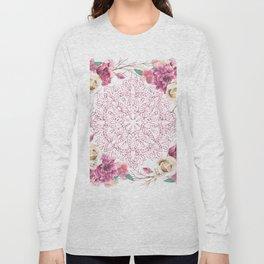 Mandala Rose Garden Pink on White Long Sleeve T-shirt