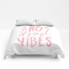 No Bad vibes hand lettered typography - Pink Comforters