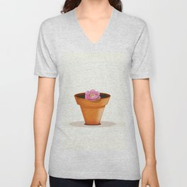 Pretty pink flower in a pot Unisex V-Neck
