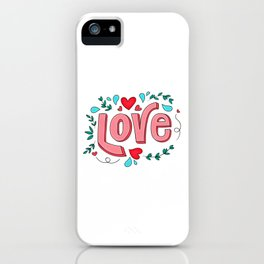 Love Quote Design, Colorful Hearts, Rainbows and Flowers (30) iPhone Case
