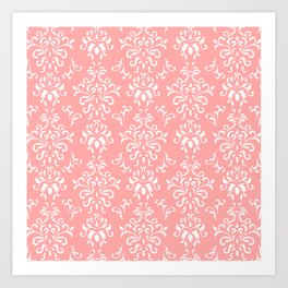 White And Coral Vintage Damask Pattern - Mix & Match with Simplicity of Life Art Print