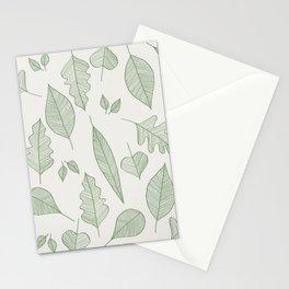 Falling Leaves Pattern I Light Stationery Cards