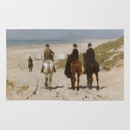 Morning Ride On The Beach - Anton Mauve Rug
