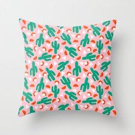 Red Hot - cactus southwest desert palm springs retro neon throwback 1980s style minimal plants Throw Pillow