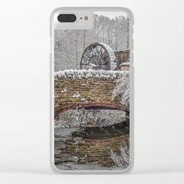 watermill in the snow Clear iPhone Case