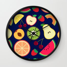 Fruit pattern vector illustration colorful Wall Clock