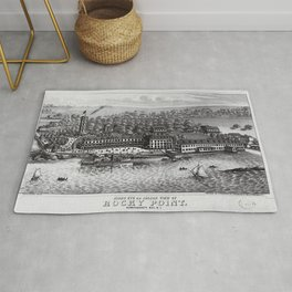 1849 Rocky Point Amusement Park Lithograph - Warwick, Rhode Island Rug