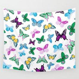 Pink, Purple & Blue Trendy Butterfly Pattern Wall Tapestry