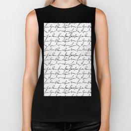 Vintage simple black white typography pattern  Biker Tank