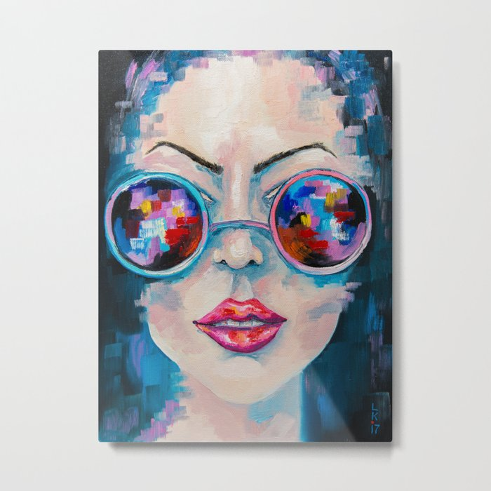 Girl in sunglasses Metal Print