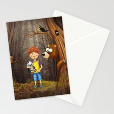 Little boy with the animals in the wood Stationery Cards