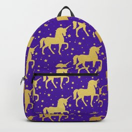 Purple and Gold Unicorn and Stars Pattern Backpack