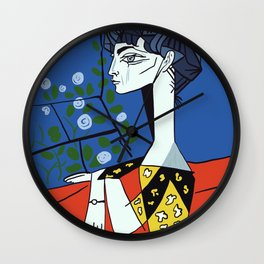 Picasso - Jacqueline with flowers Wall Clock
