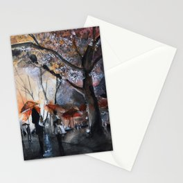 Watercolor painting - Autumn rain - Stationery Cards