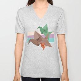 PAPER CRANES (Origami abstract birds animals nature) Unisex V-Neck