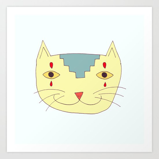Aztec Cat Art Print