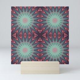 Mauve & teal starburst Mandala Mini Art Print