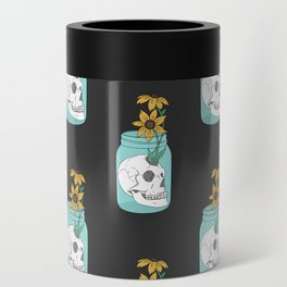 Skull in Jar with Flowers Can Cooler