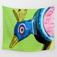 wooden Wall Tapestries featuring Wooden Peacock by Ethna Gillespie