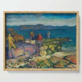 George Bellows, Dock Builders, 1916 Serving Tray