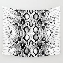 Snake skin texture. black white simple ornament Wall Tapestry