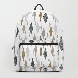 Danish Diamond Mid-Century Geometric Print Tan Backpack