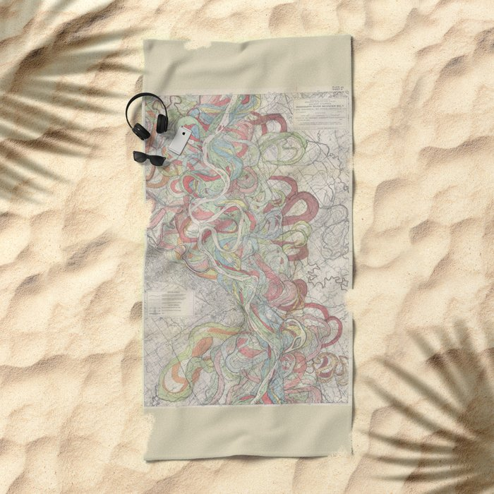 Beautiful Map of the Lower Mississippi River Beach Towel