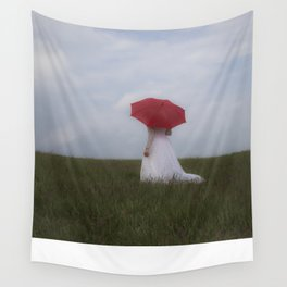 Bride with red umbrella Wall Tapestry