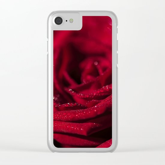 Fire-Red-Rose Clear iPhone Case