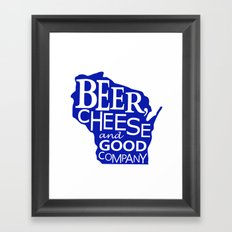 Blue and White Beer, Cheese and Good Company Wisconsin Graphic Framed Art Print