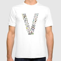 letter V - Nintendo Classics White MEDIUM Mens Fitted Tee