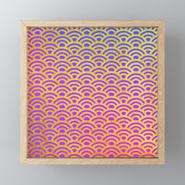 Vibrant Pink Purple Ombre Mermaid with Gold Scales Framed Mini Art Print