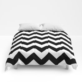 BLACK AND WHITE CHEVRON PATTERN - THICK LINED ZIG ZAG Comforters