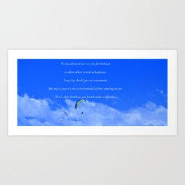 """""""Parasailing #13"""" with poem: Friends and Birthdays Art Print"""
