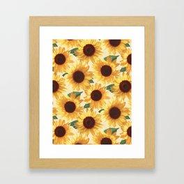 Happy Yellow Sunflowers Framed Art Print